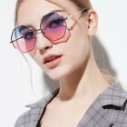 New Women's Geometric Oversized Sunglasses Polygon Gradient Lens Eyewear Glasses