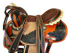 ROUGH OUT LEATHER WESTERN HORSE DARK BROWN TOOLED PLEASURE TRAIL SADDLE 15 16