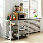 3-Tier Microwave Oven Cart Bakers Rack Kitchen Storage Shelves Stand Metal White photo