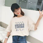 Women Cartoon Print Tee Tops Harajuku Summer Casual Short Sleeve Cotton T ShirD.