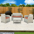 3pcs Patio Home Furniture Set Garden Sectional Couch Outdoor Sofa & Table