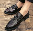 Retro Mens Pointy Toe Brogue Dress Barber Creepers Loafers Casual Shoes Slippers