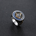 Masonic Square & Compass Stainless Steel Ring Freemason All Seeing Eye Ring