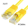 4x 75FT CAT5e Cable Ethernet Lan Network CAT5 RJ45 Patch Cord Internet Yellow