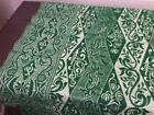 """Antique Woven Coverlet Green & Antique White 72""""x 80"""" Blanket Cutter Stacker"""