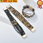 Leopard Printed Bracelet Wrap Bracelet For Alloy Tube Multi-layer Bangle Jewelry image