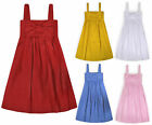 Girls Summer Dress Kids New Cotton Linen Holiday Party Dresses Age 2 - 14 Years