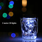 Solar Power 2M 20LEDs Fairy Light Garden Deck Party Mason Jar Lid Night Lights L