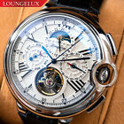 Mens Silver Chrome Flywheel Skeleton Exhibition Automatic Mechanical Wrist Watch