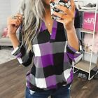 S-3XL Women's Long Sleeve Plaid T-Shirt Blouse Casual V-Neck Pullover Tops USA