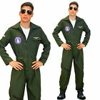 80s Gun Aviator Costume Top Shot Pilot Flying Uniform 80s Mens Fancy Dress 1980s