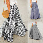 Внешний вид - ZANZEA Women's High Waist Plaid Check Long Maxi Skirts Full Length Skirts Dress