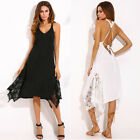 ZANZEA Women Summer Beach Slip Dress Lace Crochet Bikini Cover Up Sundress Plus