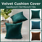 Pack of 2 Velvet Plain Cushion Cover Euro Vintage Throw Scatter Pillow Case