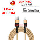 For iPhone 5 6 7 8 XS XR Lightning Charger Cable Heavy Duty Charging Cord Gold
