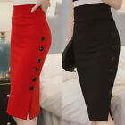 Внешний вид - Women's Midi Pencil Skirt Sheath High Waisted Button Split Bodycon Office Skirts