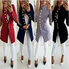 Women Lady Casual Button Slim Long Sleeve Suit Blazer Coat Jacket Outwears US