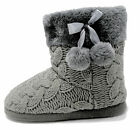 New for 2019 Dunlop, Womens Ladies Slipper Boots, Knitted Upper with Pom Poms <br/> INTRODUCTORY OFFER - LIMITED TIME - £12.99 Post Free