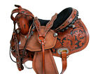 DEEP SEAT BARREL SADDLE WESTERN RACING HORSE FLORAL TOOLED LEATHER 15 16 TACK