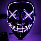 Halloween The Purge Movie LED Glow Mask 3-Modes Wire Light Up Costume Party Gift
