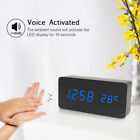 LED Wooden Alarm Clock 3 Levels Brightness Voice Control USB Desktop Clock U0M6