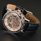Winner Steampunk Automatic Mechanical  Leather Hollow Sport  Dial Men Watches image