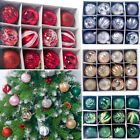 12/24PCS Christmas Tree Baubles Plain Glitter Xmas Ornaments Ball Hanging Prop $6.39 USD on eBay