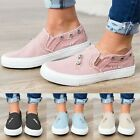 Women Denim Canvas Zip Loafers Pumps Casual Slip On Flat Trainers Sneakers Shoes