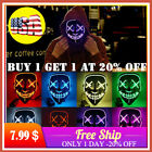 Halloween LED Glow Mask 3 Mode EL Wire Light Up The Purge Movie Costume Party US