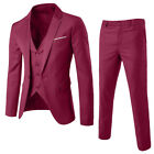 Men's Slim Formal Business Wedding Party Suit 3 Piece Jacket Vest and Pants US