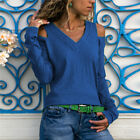 Women Cold Shoulder Cut Out V Neck Knitted Sweater Slim Outwear Pullover Jumpers