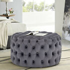 Chesterfield Button Cube Stool Chair Footrest Ottoman Velvet Coffe Table MJ139