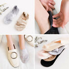 4 Pairs Lady Invisible No Show Non slip Loafer Lace Boat Liner Low Cut Sock