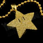 18K Gold Plated Iced MARIO STAR Stainless Steel Box Chain Pendant Necklace