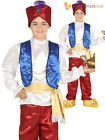 Boys Arabian Genie Costume Childs Aladdin Fancy Dress Kids Book Week Day Outfit