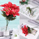 7 Heads Poinsettia Christmas Tree Flowers Artificial Decor Party Wedding Decor