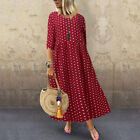 ZANZEA Women's Long Sleeve Polka Dot Long Shirt Dress Oversize Midi Dress Plus
