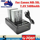 2× NB-10L Battery / LCD Charger for Canon Powershot SX40 SX50 SX60 HS G3 G1 X WM