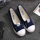 New Women's Ladies Canvas Shoes Pumps Slip On Summer Size Flat Lace Up Loafer