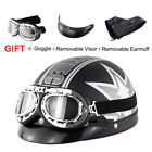 Motorcycle German Half Face Helmet Motocross Motorbike Helmet With Pilot Goggles