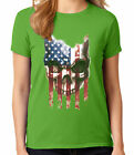 Halloween US Skull Ladies T-shirt Striped Patriotic Skull Women's Tee - 1670C