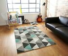 SMALL - LARGE MED THICKNESS TRIANGLES PRISMS DUCK EGG MINT GREY GEOMETRIC RUG