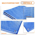 Blue Poly Tarp Waterproof Canopy Tent Reinforced Cover UV Block 5 Mils Thick