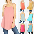 Women's Spaghetti Strap Tunic Tank Top Loose Fit Casual Blouse Soft Flowy Long