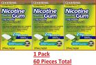 Nicotine Gum 2 mg Coated Mint Flavor Generic for Nicorette Gum 20 Count 3 PACK