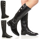 WOMENS LADIES LOW HEEL FLAT QUILTED BUTTON STRETCH CALF KNEE RIDING BOOTS SIZE