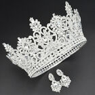 10cm High Silver Crystal Wedding Party Pageant Prom Round Crown Earrings
