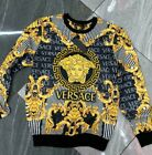 NWT MEN'S GOLD MEDUSA BAROQUE MOTIF LONG SLEEVE SUPER SLIM FIT  BLACK T-SHIRT
