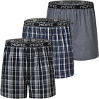 JINSHI 3-PACK Men's Cotton Short Trunks Lounge W/ Open Plaid Pants Home Sleepwe