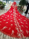 Womens Oriental Style Red Gold Flower Embroidered Ruffled Wedding Dress Gown